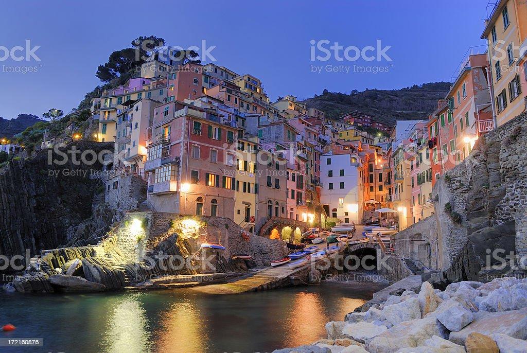Riomaggiore at dusk in Cinque Terre, Italy royalty-free stock photo