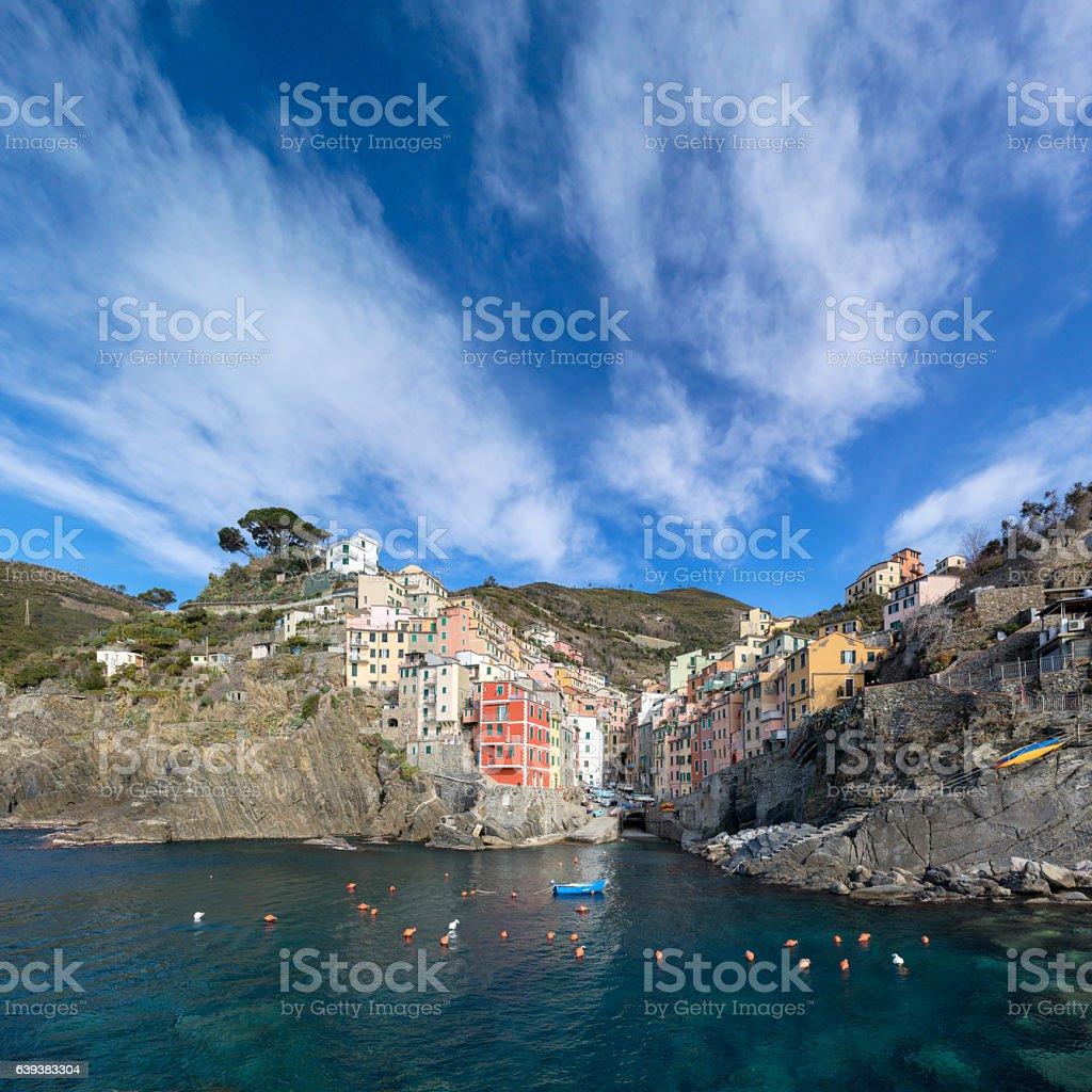 Riomaggiore at sunny day, Cinque Terre National Park, Liguria, Italy stock photo
