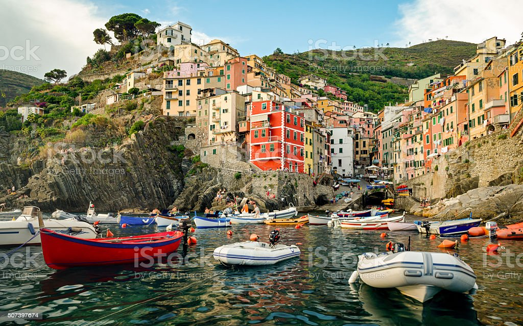 Riomaggiore (Cinque Terre Liguria Italy) at sunset stock photo