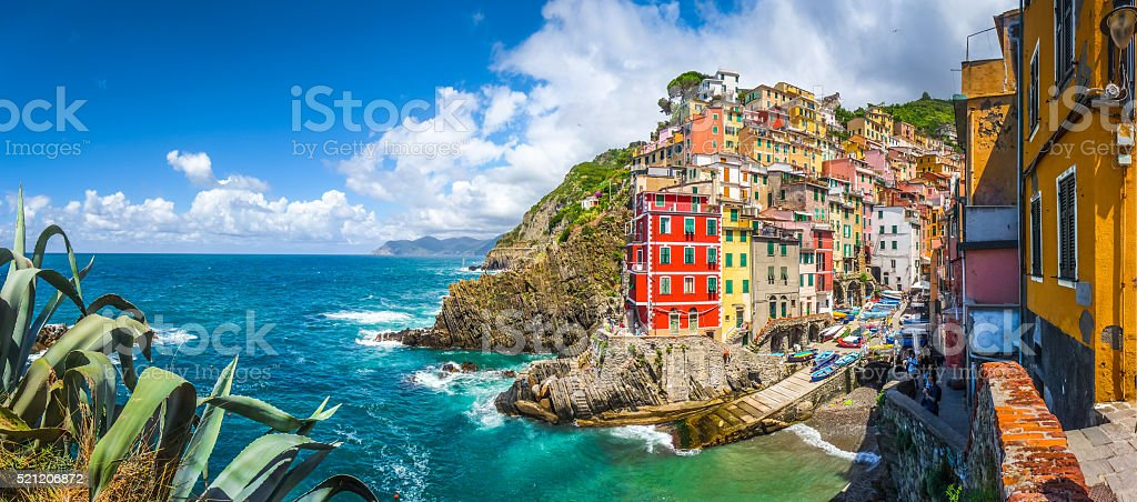 Riomaggiore fisherman village in Cinque Terre, Liguria, Italy stock photo