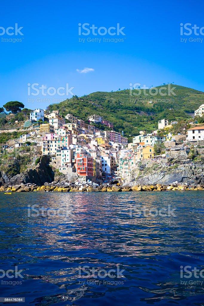 Riomaggiore in Cinque Terre, Italy - Summer 2016 stock photo