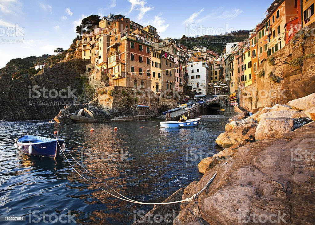 Riomaggiore Italy Cove at Dusk stock photo