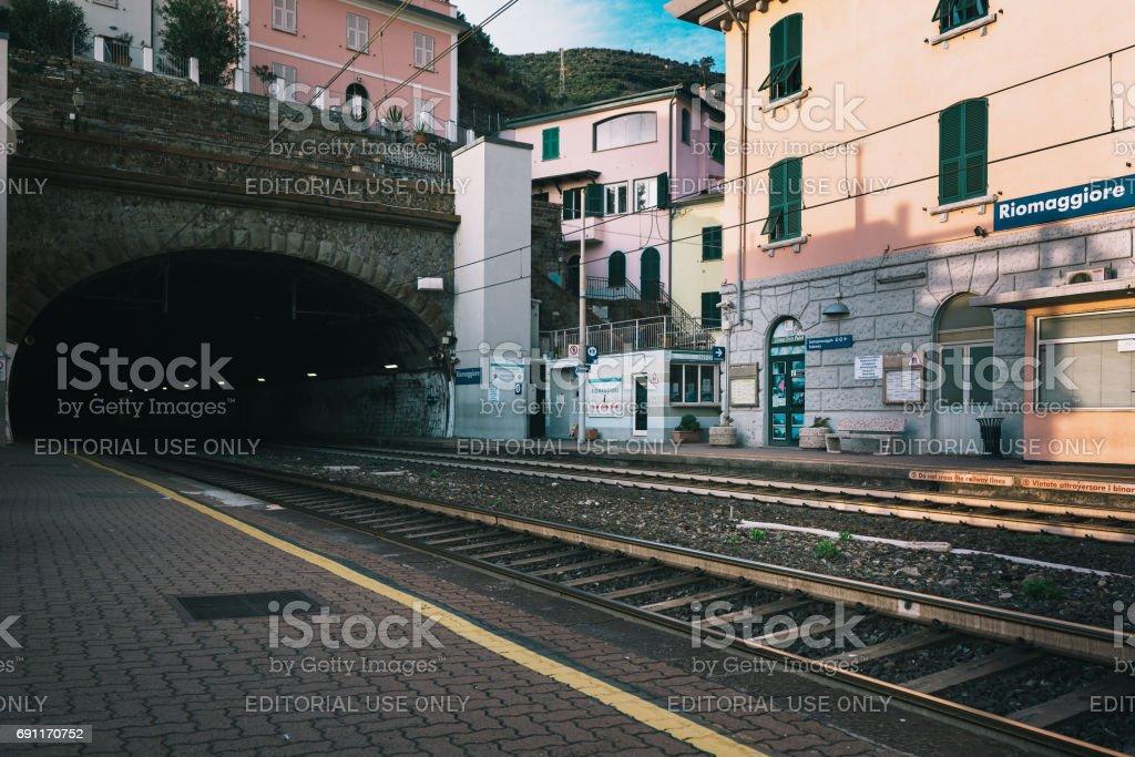 Riomaggiore railroad station with train tunnel at Cinque Terre national park, Italy stock photo