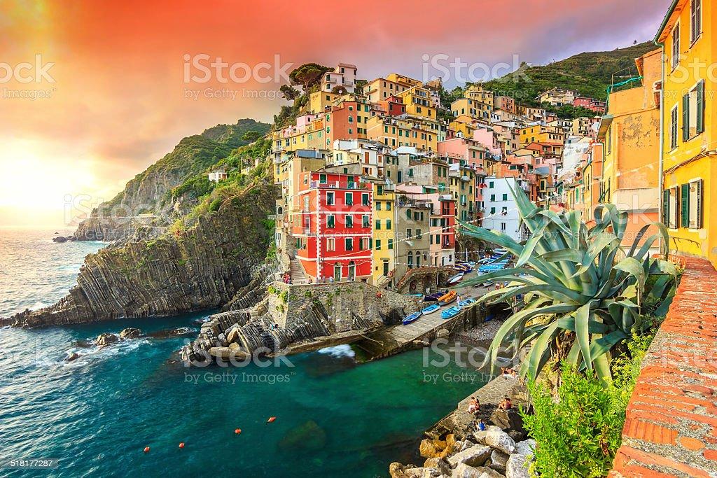 Riomaggiore village on the Cinque Terre coast of Italy,Europe stock photo