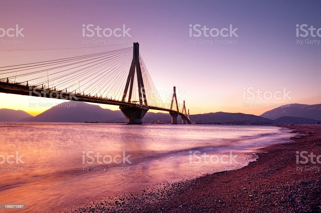 Rion-Antirion cable-stayed bridge stock photo