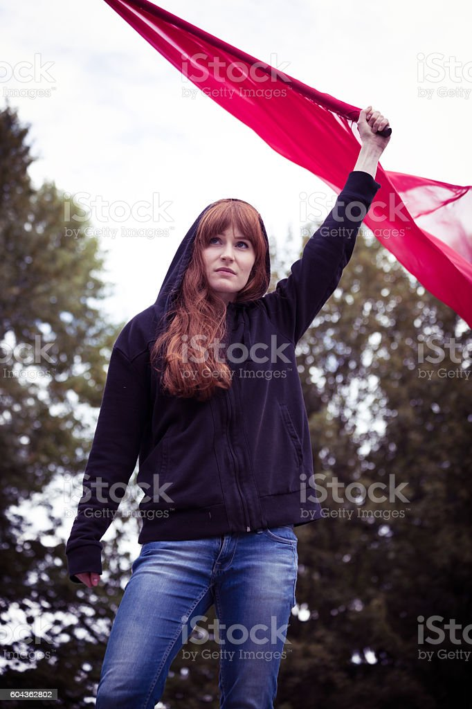 Riot act of a female activist stock photo