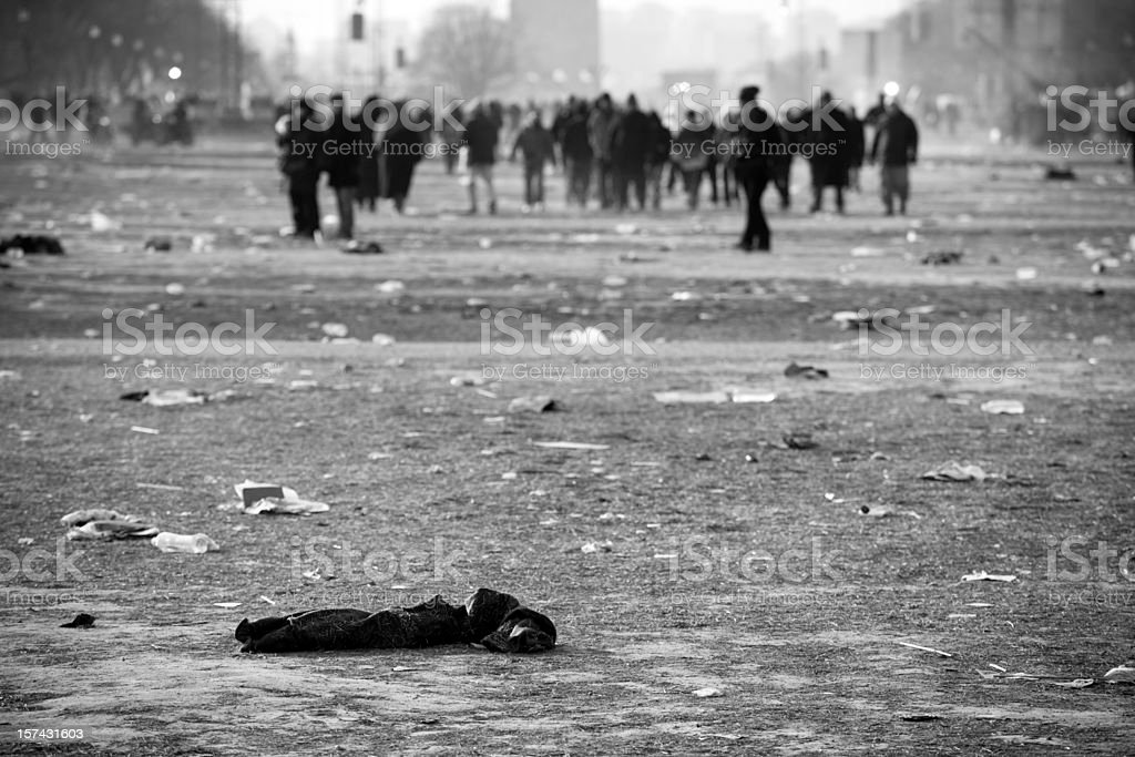 Riot aftermath crowds of people, Washington DC stock photo