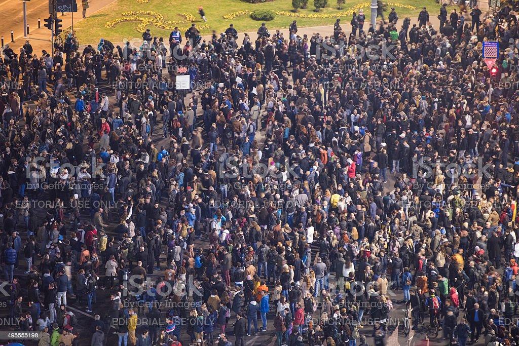 Riot in Bucharest stock photo