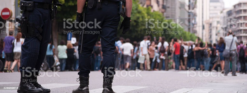 Riot police in a demonstration stock photo