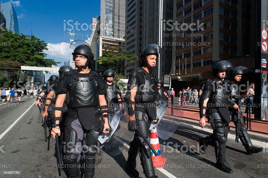 Riot Police in Brazil stock photo
