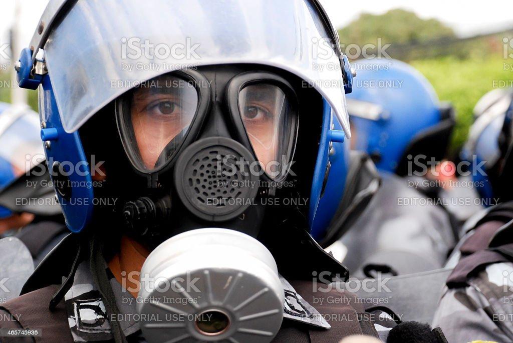 Riot police in central america stock photo