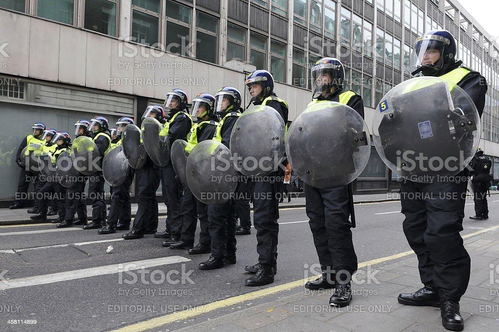 Riot Police in London stock photo