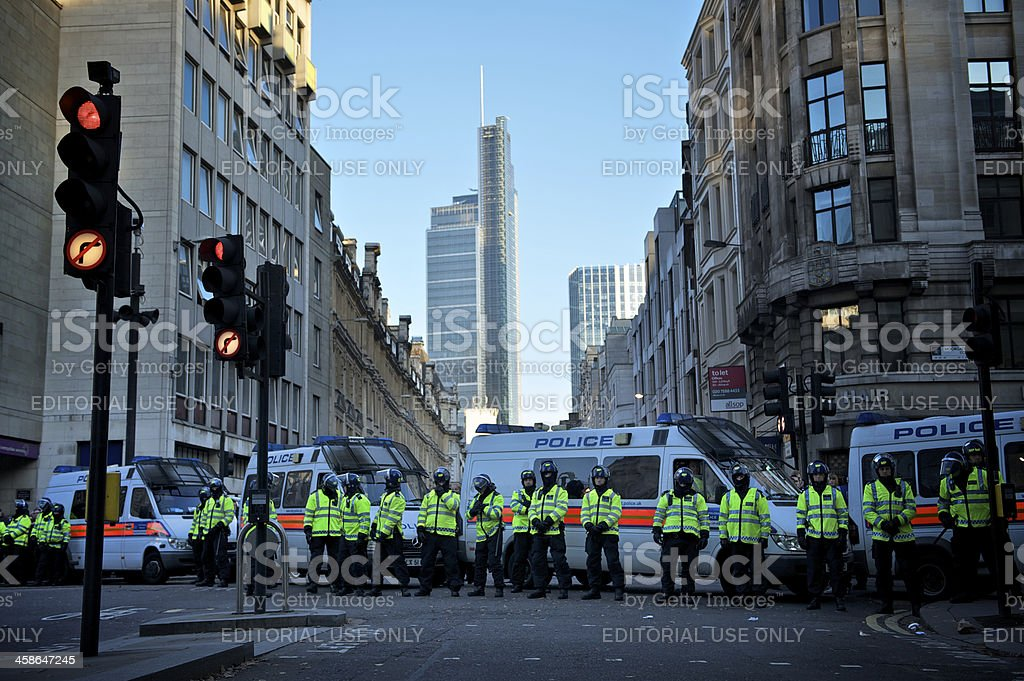 Riot Police in London royalty-free stock photo