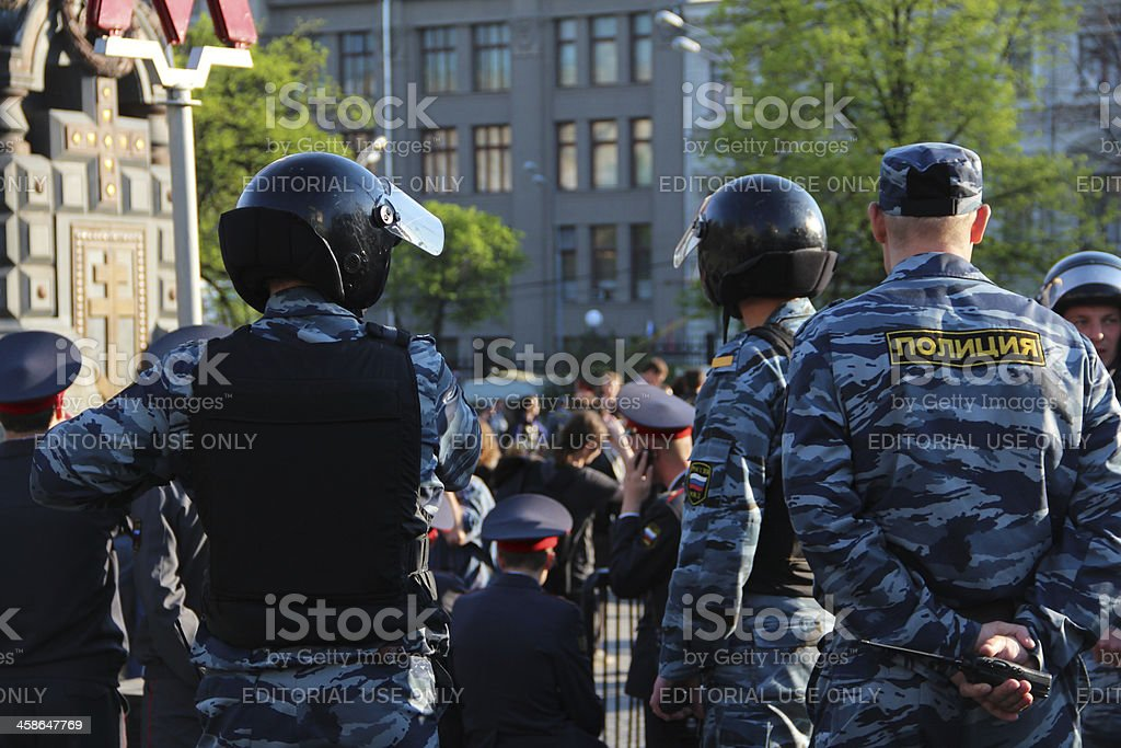 Riot Police in Moscow stock photo