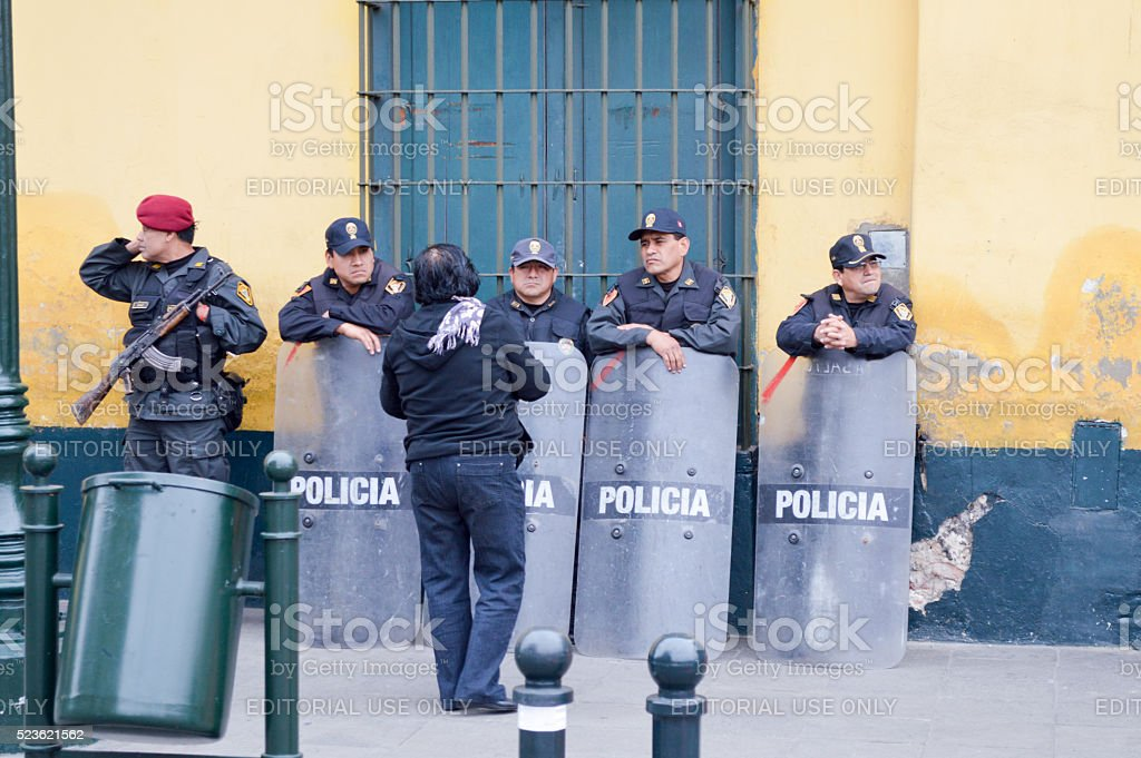 Riot police in South America stock photo