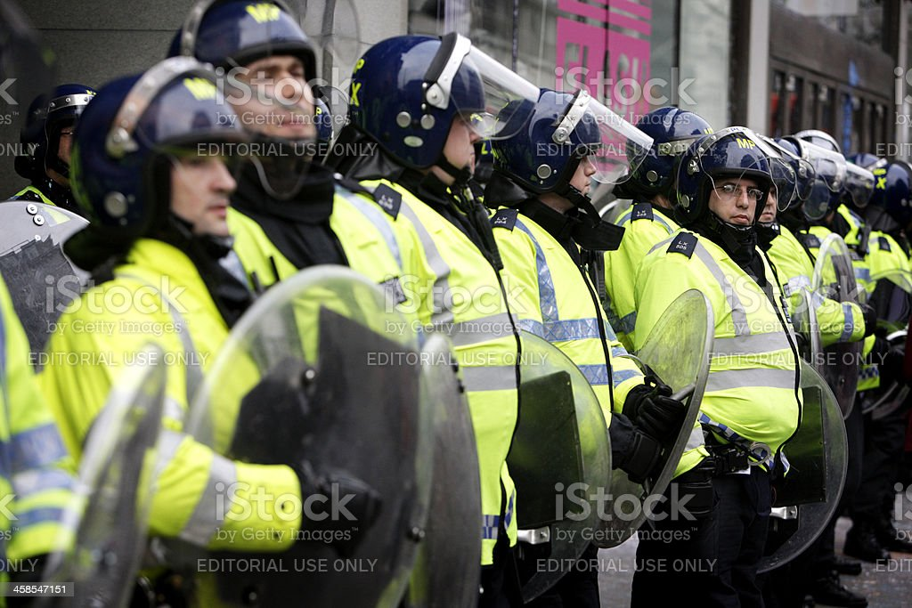 Riot police line, London. royalty-free stock photo