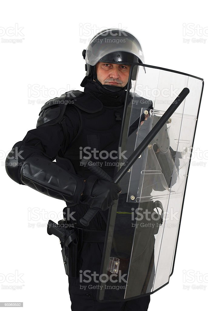 Riot police officer with Barton and Perspex shield stock photo