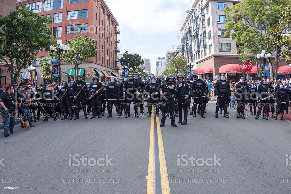 Riot police on Fifth Avenue in San Diego stock photo