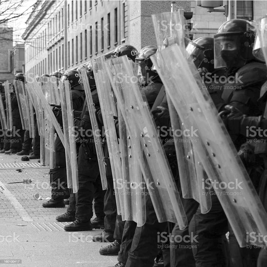 Riot police perspective stock photo