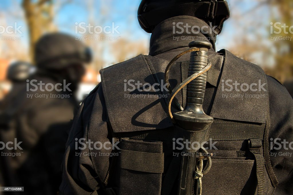 Riot police piece of equipment stock photo