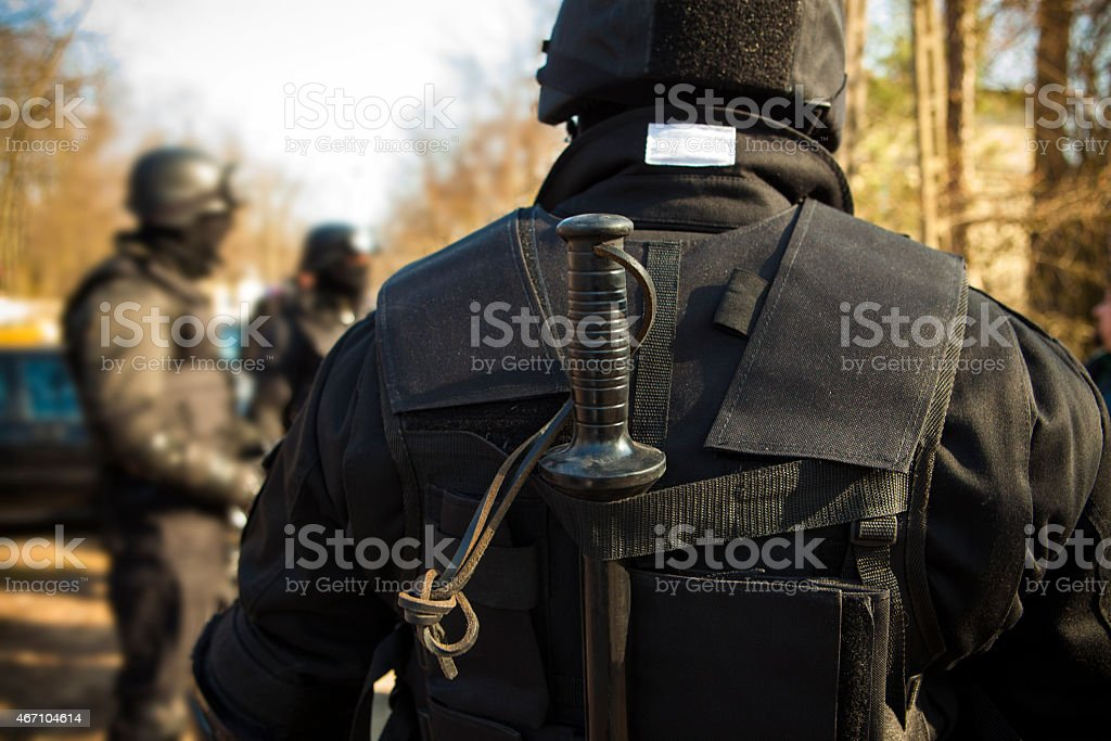 Riot police, piece of equipment stock photo