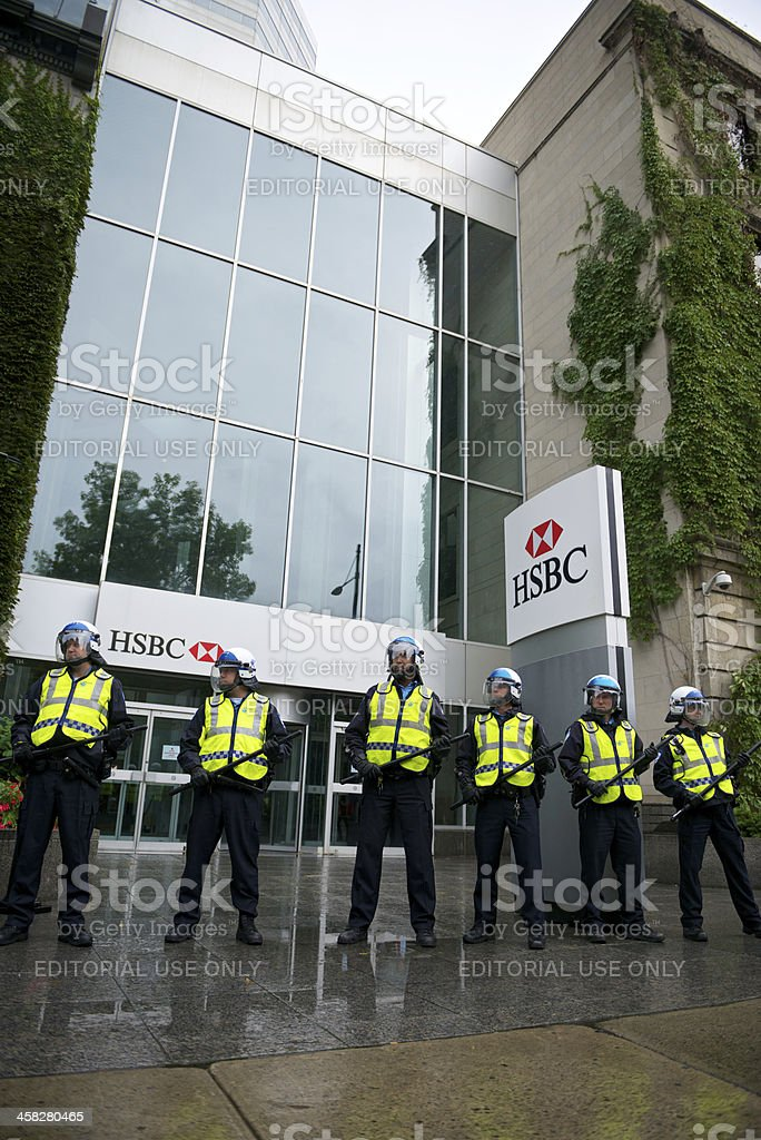 Riot Police Protect Bank stock photo