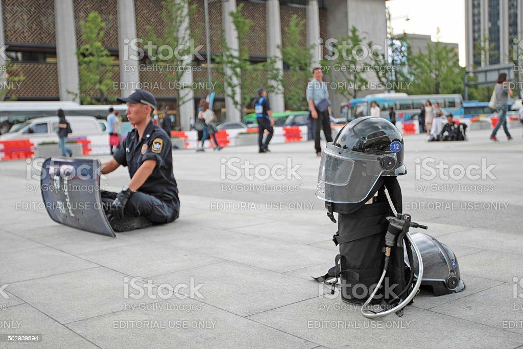 Riot Police Ready For Action Seoul South Korea stock photo