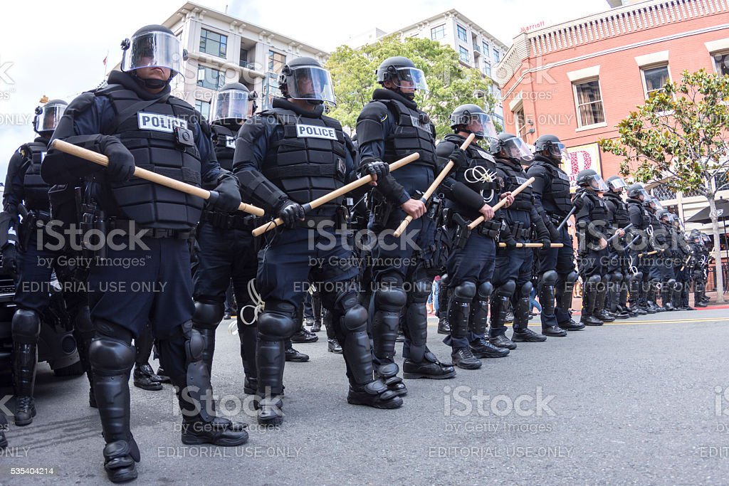 Riot police ready to march stock photo