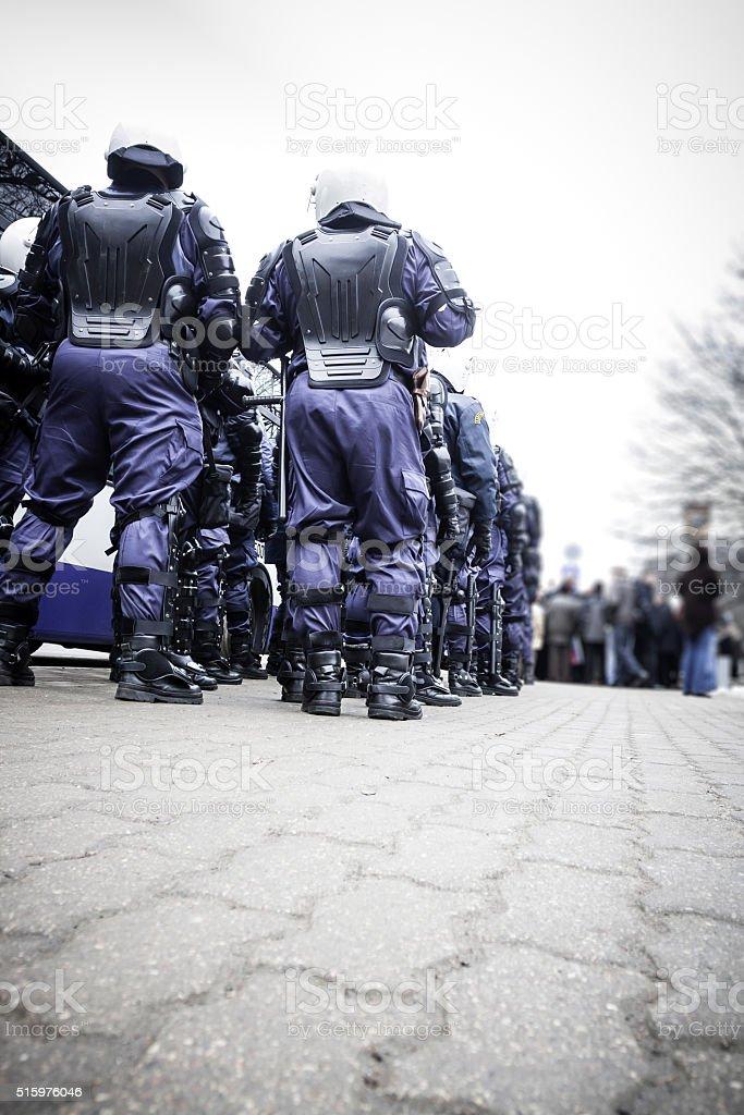 Riot police unit stock photo