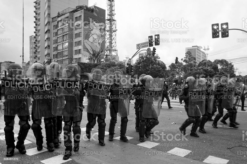 Riot Squad in Brazil stock photo
