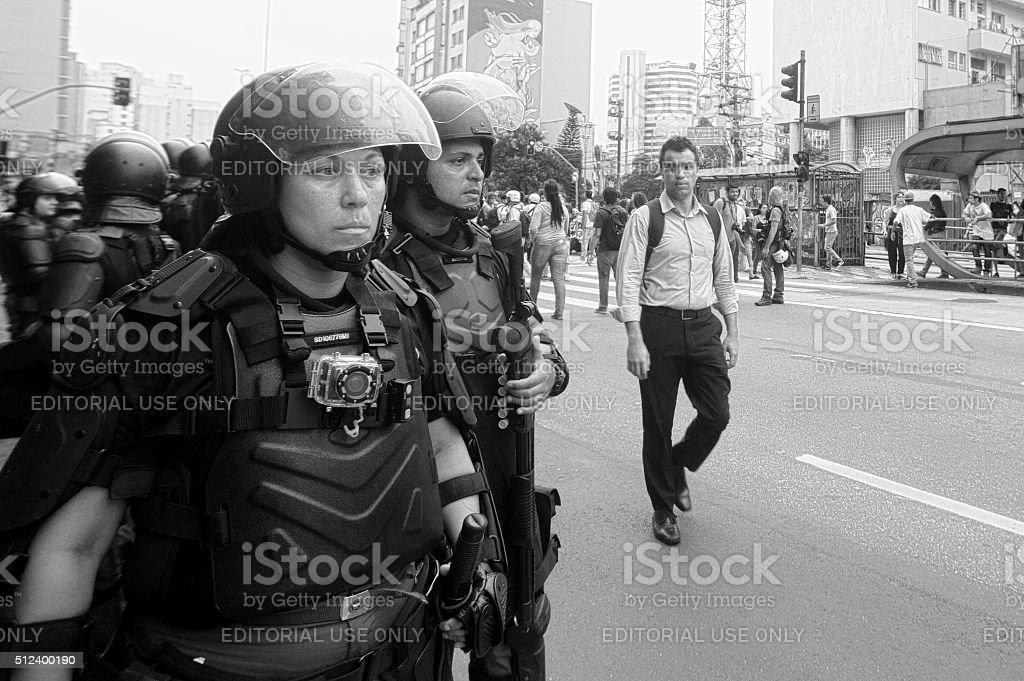 Riot Squad in Brazil stock photo