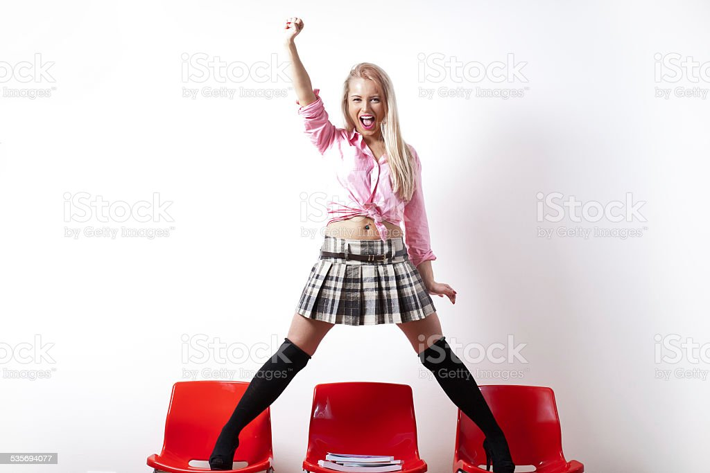 riot student with a miniskirt stock photo