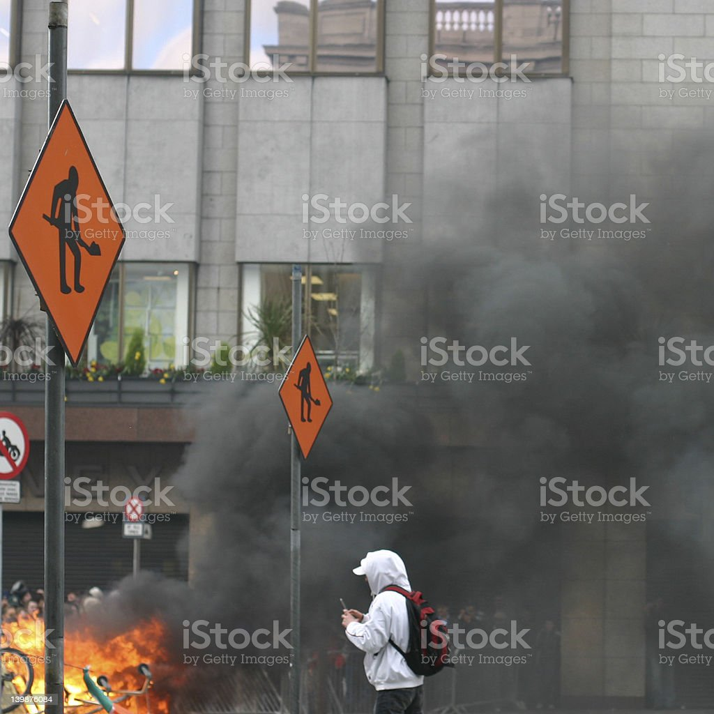 Rioting fires stock photo