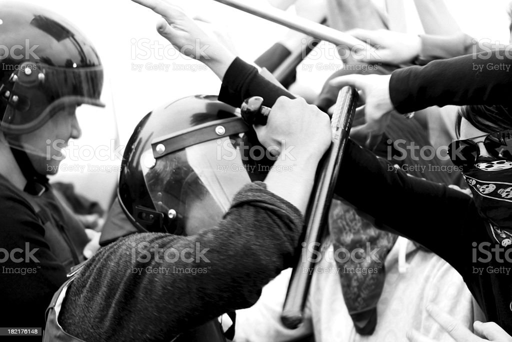 rioting police action stock photo