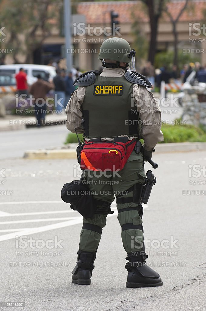 RiotSheriffinStreet stock photo