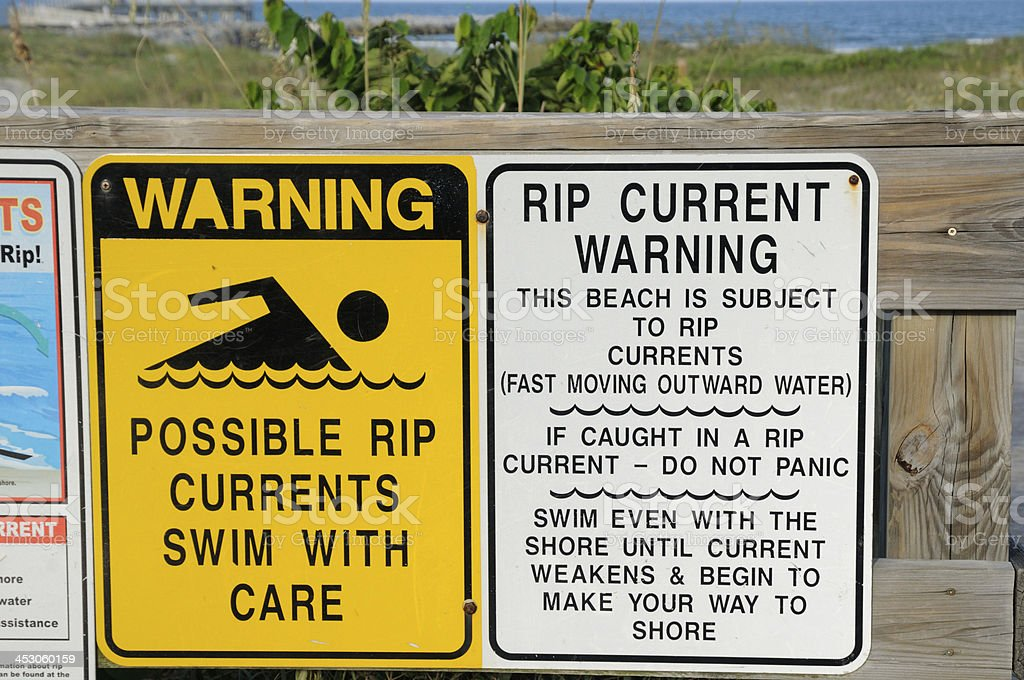 Rip Current  Warnings stock photo
