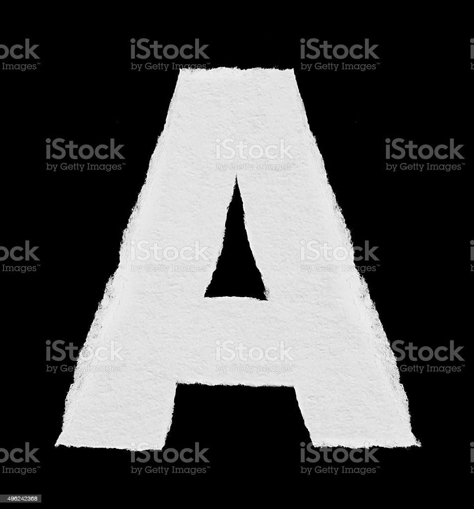 rip paper alphabet (A) stock photo
