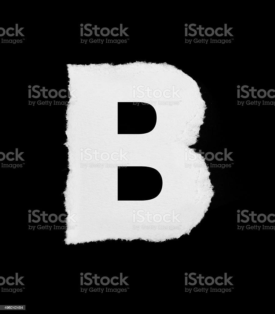 rip paper alphabet (B) stock photo