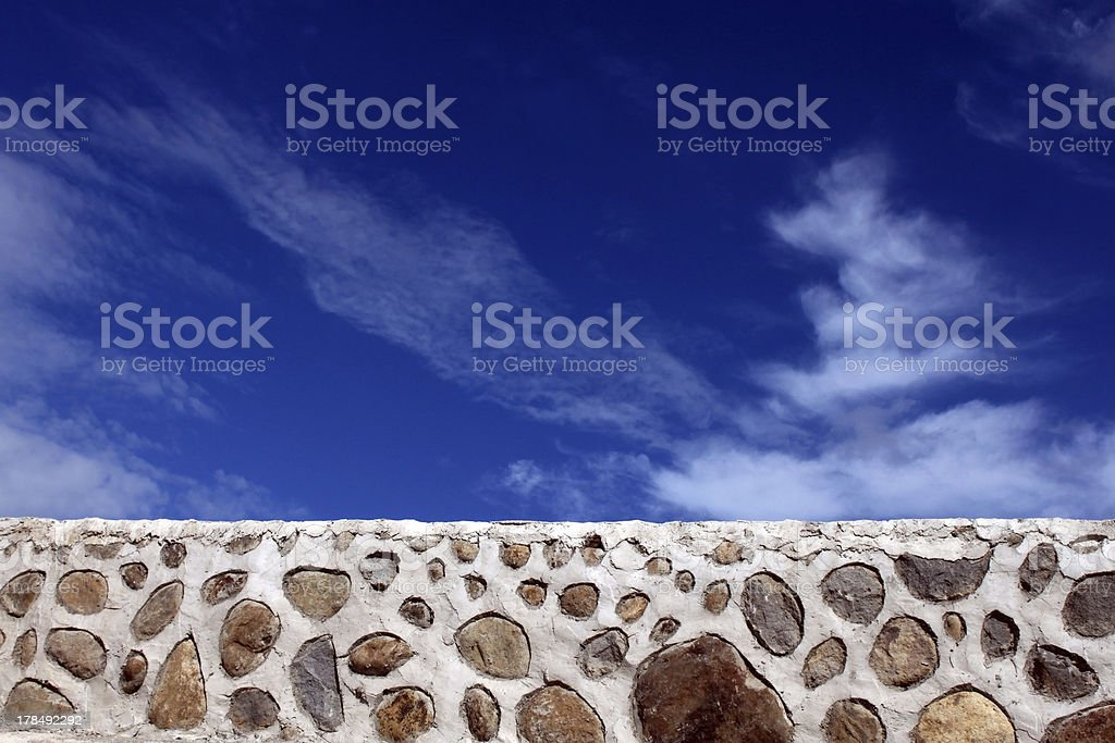 Rip rap and Blue Sky stock photo