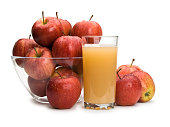 Ripe apples and juice with pulp