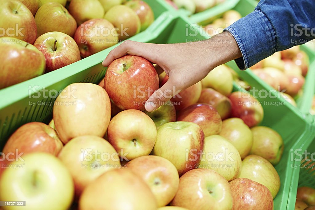 Ripe apples in the store royalty-free stock photo