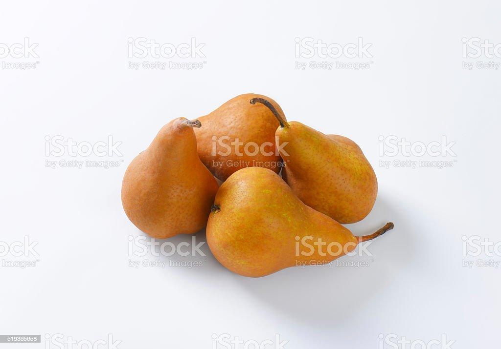 Ripe Bosc pears stock photo