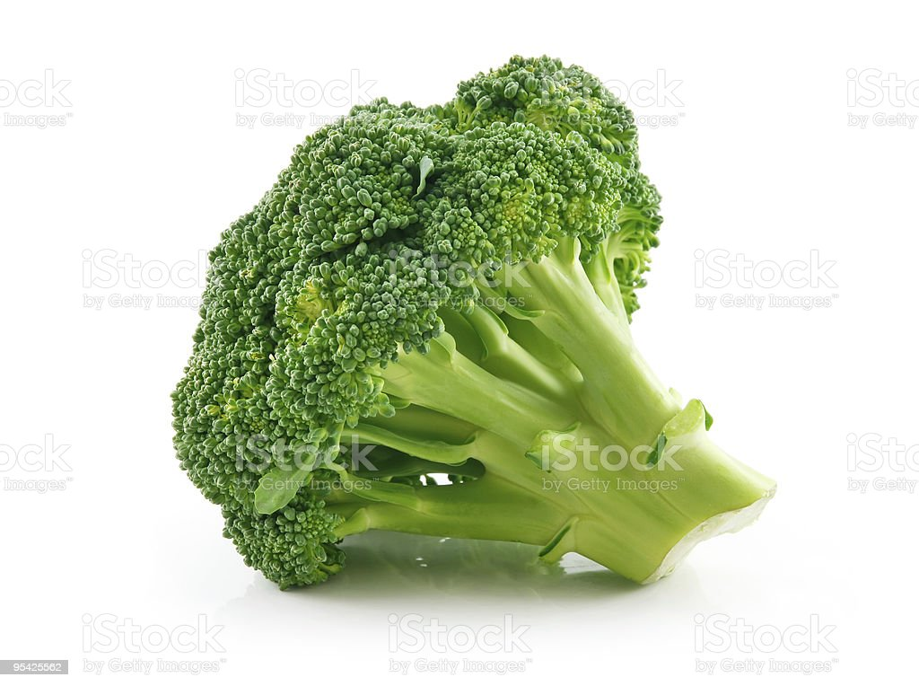 Ripe Broccoli Cabbage Isolated on White stock photo