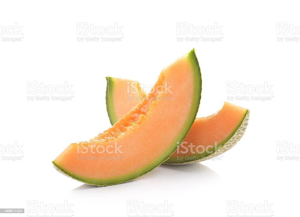 Dojrzałe Kantalup melon na białym tle zbiór zdjęć royalty-free
