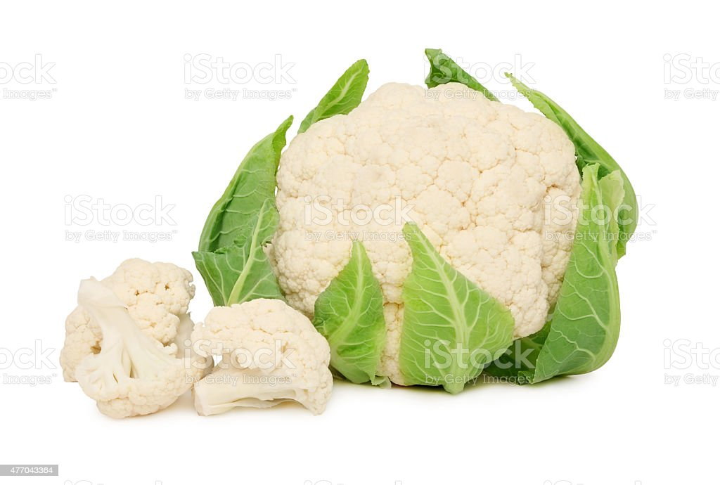Ripe cauliflower with green leaves (isolated) stock photo