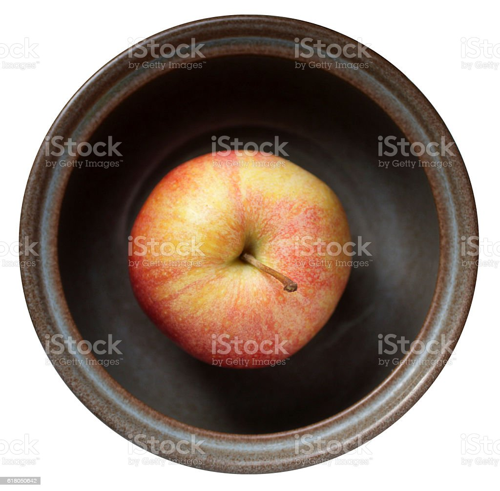 Healthy apple in a breakfast bowl one a day stock photo