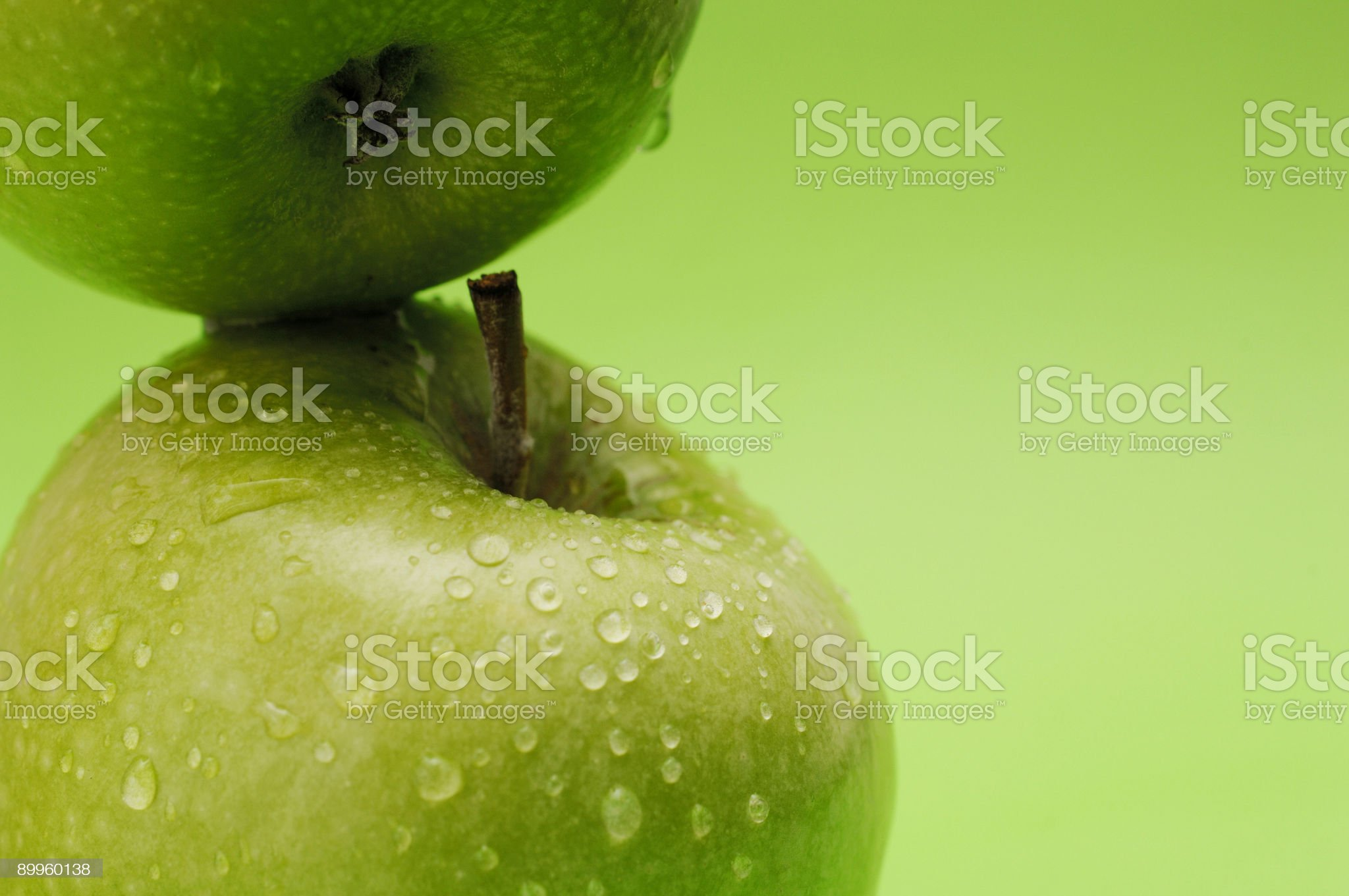 ripe crisp water covered green apples royalty-free stock photo