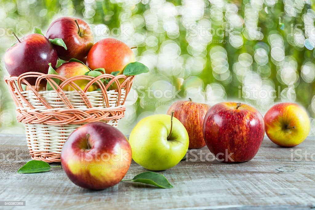 Ripe fresh apples on the wooden table in the garden stock photo