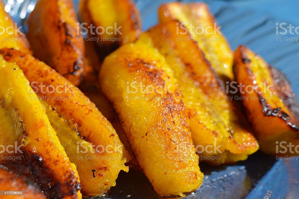Ripe fried plantain – traditional dish in Central America stock photo