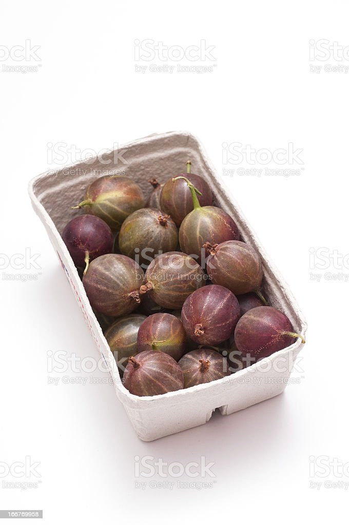 Ripe gooseberries in a box royalty-free stock photo